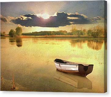Lonely Boat Canvas Print by JimPix