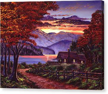 Lonely Cabin Canvas Print by David Lloyd Glover