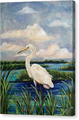 Lonesome Egret Canvas Print