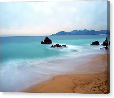 Long Exposure Of Blue Sea Canvas Print by Federica Fortunat