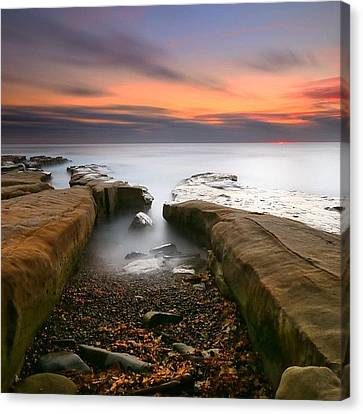 Long Exposure Sunset At A San Diego Canvas Print by Larry Marshall