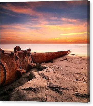 Long Exposure Sunset At Cardiff State Canvas Print by Larry Marshall