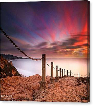 Long Exposure Sunset Shot From The Canvas Print by Larry Marshall