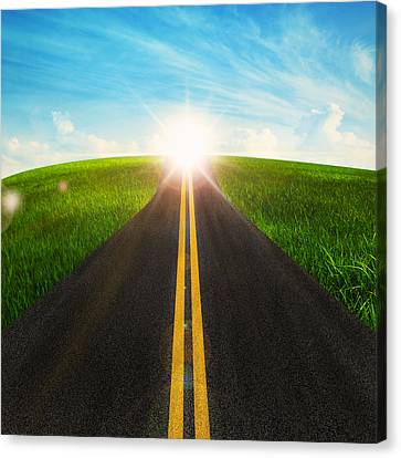 Long Road In Beautiful Nature  Canvas Print by Setsiri Silapasuwanchai