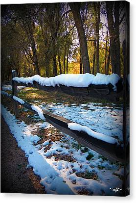 Canvas Print featuring the photograph Long Snow Fence by Michelle Frizzell-Thompson