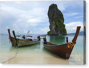 Long Tail Boats Thailand Canvas Print by Bob Christopher
