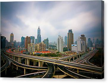 Long Twisting Bridges In Shanghai Canvas Print by Allister Chiong's Photography