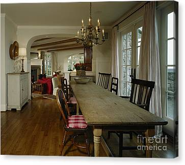 Long Weathered Rustic Table Canvas Print by Robert Pisano