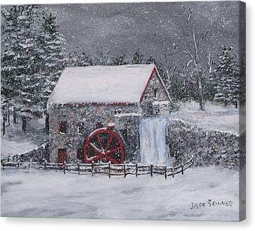 Longfellow S Grist Mill Canvas Print - Longfellow's Grist Mill In Winter by Jack Skinner