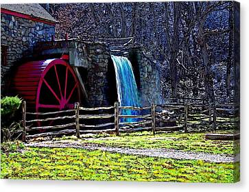 Longfellow's Wayside Gristmill Painting 2 Canvas Print by Earl Jackson