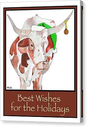 Longhorn Christmas Canvas Print by Marla Saville