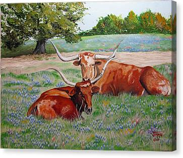 Canvas Print featuring the painting Longhorns In Bluebonnet Field by Jimmie Bartlett