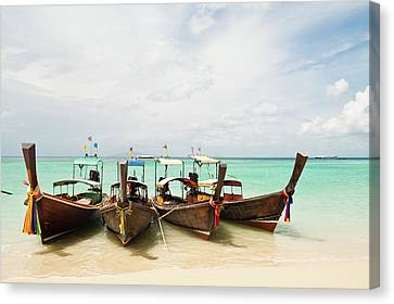 Longtail Boats At Phi Phi Island, Thailand Canvas Print by Melissa Tse