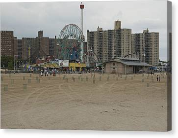 Looking Across The Beach To The Ferris Canvas Print by Todd Gipstein
