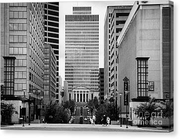 Downtown Nashville Canvas Print - Looking Up Deaderick Street Towards War Memorial Plaza And The William Snodgrass Tennessee Tower by Joe Fox