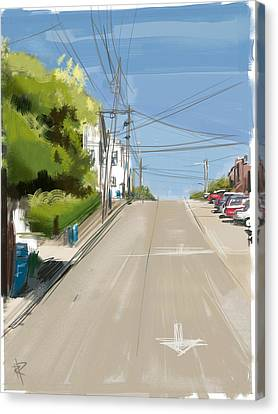 Looking Up Dolores Street Canvas Print by Russell Pierce
