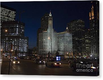 Looking West And East Wacker Drive In Chicago At The Wrigley Building At Night Canvas Print by Christopher Purcell