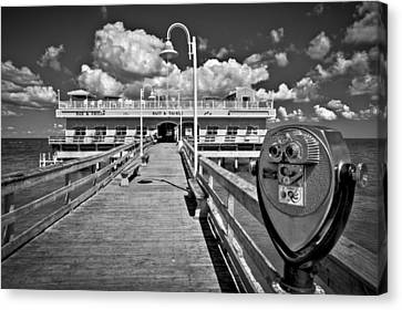Lookout At Oceanview Fishing Pier Canvas Print by Williams-Cairns Photography LLC