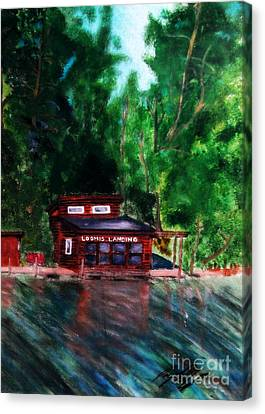 Canvas Print featuring the painting Loomis Landing by Ayasha Loya