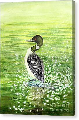 Loon Art Judy Filarecki Watercolor Canvas Print by Judy Filarecki