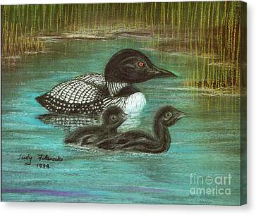 Loon Babies With Mother Judy Filarecki Pastel Painting Canvas Print by Judy Filarecki
