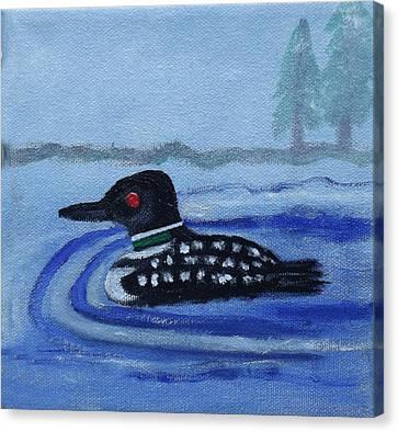 Loon On Lake Winnipeaukee Canvas Print by Margaret Harmon
