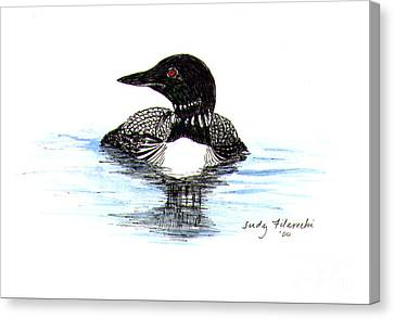 Loon Swim Judy Filarecki Watercolor Canvas Print by Judy Filarecki