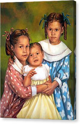 Canvas Print featuring the painting Loretta And Her Sisters by Nancy Tilles
