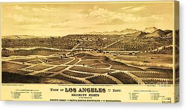 Los Angeles From The East Canvas Print by Pg Reproductions