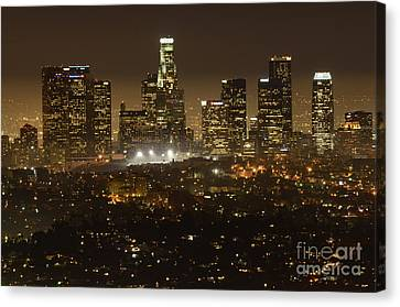 Los Angeles Skyline At Night Canvas Print by Bob Christopher