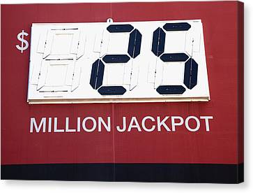 Lottery Sign With Winning Value Canvas Print by Nathan Griffith