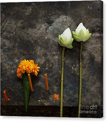 Lotus Flowers On A Thai Shrine Canvas Print by Paul Grand
