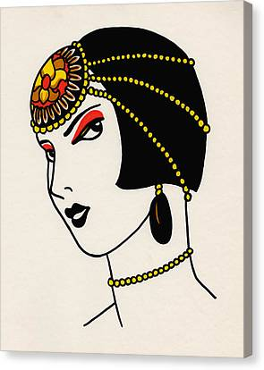 Art Deco Jewelry Canvas Print - Louise by Lauren Busiere