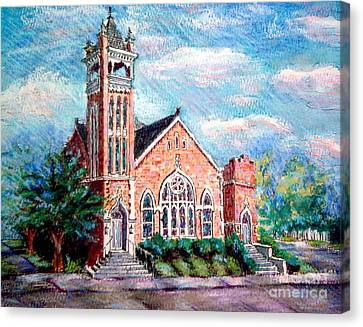 Canvas Print featuring the painting Louisiana Church by Gretchen Allen