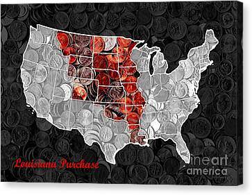 Louisiana Purchase Coin Map . V1 Canvas Print by Wingsdomain Art and Photography