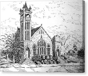 Canvas Print featuring the drawing Louisianna Church 1 by Gretchen Allen