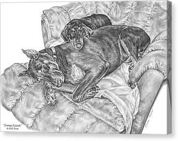 Lounge Lizards - Doberman Pinscher Dog Art Print Canvas Print by Kelli Swan