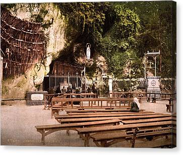 Lourdes, France, The Grotto Of Notre Canvas Print by Everett