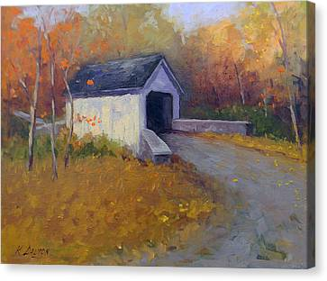Loux Covered Bridge In Bucks County Canvas Print by Kit Dalton