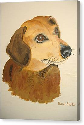 Canvas Print featuring the painting Lovable Dachshund by Norm Starks