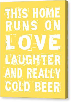 Love And Cold Beer Poster Canvas Print