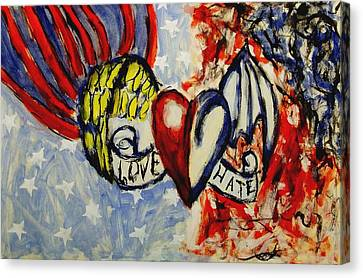 Love And Hate Angel And Devil American Hearts And Flags With Wings And Stars Canvas Print by MendyZ M Zimmerman