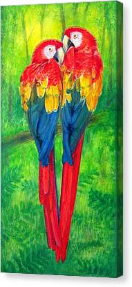 Macaw Canvas Print - Love Birds- Macaw Parrots by Sue Halstenberg