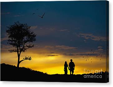 Love Couple Silhouette At Sunset Canvas Print by Andre Babiak