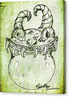 Canvas Print featuring the drawing Love Monster by Nada Meeks