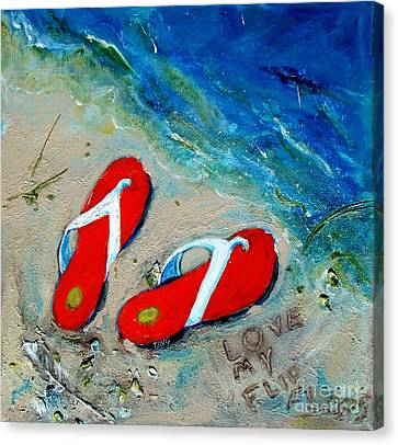 Love My Flipflops Canvas Print by Doris Blessington