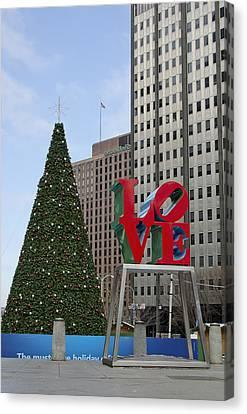 Love Park Philadelphia - Winter Canvas Print by Brendan Reals