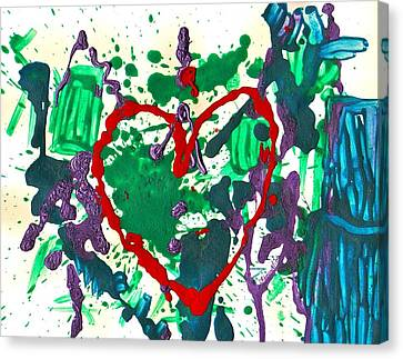 Canvas Print featuring the painting Love Survives A Trashy Time by Sharon Mick