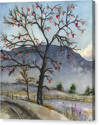 Bare Trees Canvas Print - Love Warms Even The Coldest Day by Anne Gifford