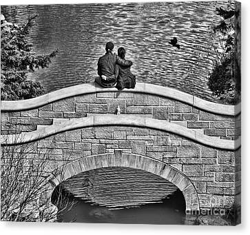 Lovers On A Bridge  Canvas Print by Traci Cottingham
